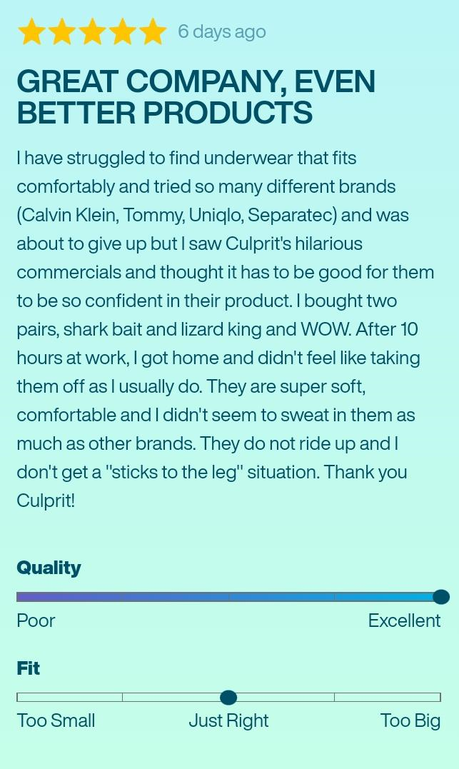 Customer Reviews On Culprit Underwear